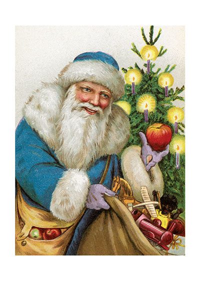 Santa in a Blue Suit | Santa Claus Christmas Greeting Cards Inside Greeting:  Merry Christmas