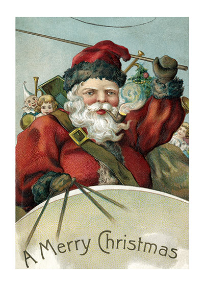 Santa Cracking his Whip | Santa Claus Christmas Greeting Cards Outside Greeting: A Merry Christmas