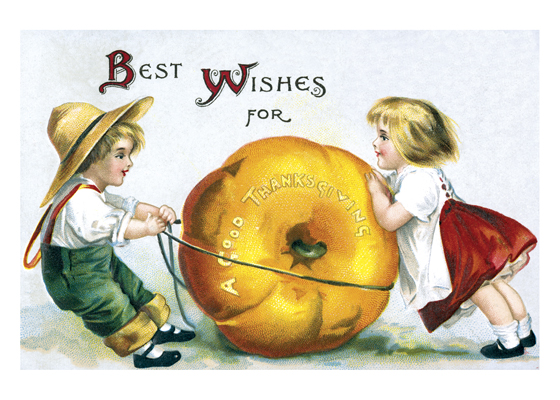 Two Children with a Giant Pumpkin | Thanksgiving Greeting Cards Outside Greeting: Best Wishes for a Good Thanksgiving