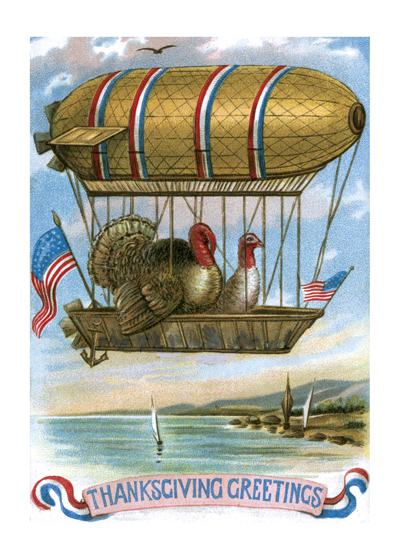 Two Turkeys in a Dirigible Outside Greeting: Thanksgiving Greetings  Our greeting cards are custom printed at our location in Seattle, WA. They come bagged with an envelope. We love illustration art from old children's books and early, printed ephemera. These cards reflect this interest in bringing delightful art back to life.