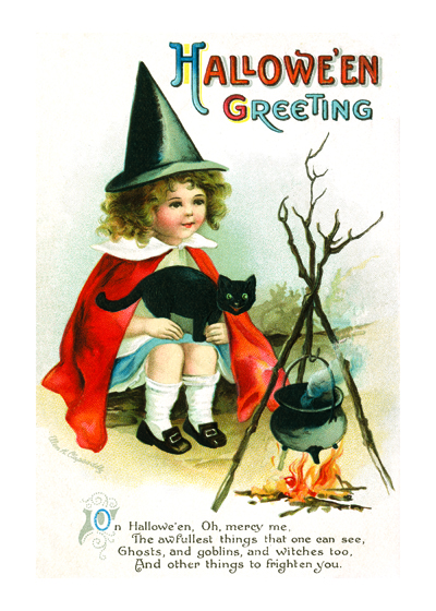 Girl Witch at a Campfire | Classic Halloween Greeting Cards Outside Greeting: Halloween Greeting
