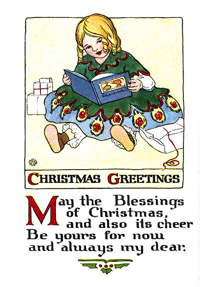 Girl Reading Her New Christmas Book | Many More Christmas Greeting Cards Outside Greeting: