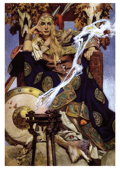 Queen Maeve In Irish Gaelic Maeve means she who intoxicates, and indeed Queen Maeve, or Mab, the Queen of the fairies in English traditon had legendary  magical power.  This image of her by the wonderful early 20th century artist beautifully portrays her majesty and power.  J.C.Leyendecker was one of a pair of brothers who were very important in magazine illustration in the early part of the 20th century.  J.C. created the Arrow Man, a sophistocated and virile man who represented an ideal of well dressed young manhood, having bought, of course, an Arrow shirt.  Our greeting cards are custom printed at our location in Seattle, WA. They come bagged with an envelope. We love illustration art from old books for children and early, printed ephemera. These cards reflect this interest in bringing delightful art back to life.