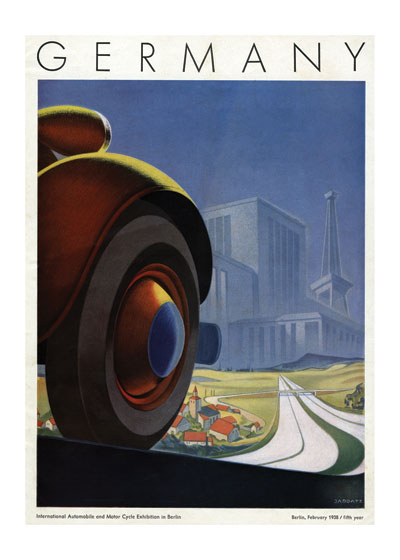 Germany Auto Exhibition Poster | By Land Transportation Greeting Cards This beautiful image represents the best of Art Deco design.