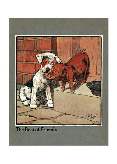 The Best of Friends | Cecil Aldin Dog Fun Animals Greeting Cards A pig can be a great friend.