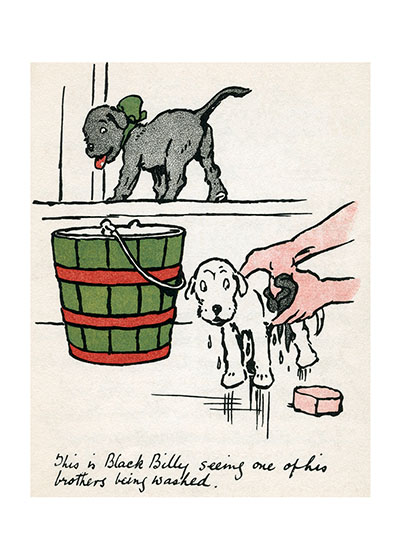 Black Billy Is Not So Sure about Baths This is Black Billy seeing one of his brothers being washed.  From {Rough and Tangle}, 1909  Cecil Aldin (1870-1935) was a prolific English artist and illustrator. While living in London, he became friends with the Beggarstaff Brothers (William Nicholson and James Pryde), with John Hassall, Phil May and Dudley Hardy, and their influence on his work was great. Aldin, however, developed his own style and was particularly skillful at conveying the humor, love and antics of the dogs and other animal friends. He did a great deal of advertising work, including posters, for such companies as Bovril, Coleman and Cadbury's. Royal Doulton, the china manufacturer, produced about sixty items with Aldin's art between 1910 and 1939. The obituary in {The London Times} asserted that there never yet has been a painter of dogs fit to hold a candle to him.  Cecil Aldin has always been a favorite of ours here at Green Tiger Press, and we have laughed at his wonderful illustrations and reproduced many of them over the years.  These prints are made at our location in Seattle, WA. They have a thick, white backing board and are sealed in clear bags. Each is suitable for framing at 11 inches x 14 inches or can be used as is for wall display. Our goal is to bring back to life these wonderful illustrations from old-fashioned, children's books and from early advertising art.