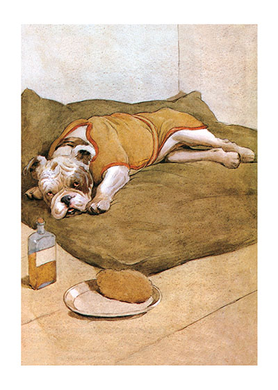 Good Care for an Ailing Friend This bulldog is obviously a little under the weather, but he clearly is being well taken care of. Will he be good about taking that medicine?  From {My Dog} by Maurice Maeterlinck, illustrated by Aldin in 1902.  Cecil Aldin (1870-1935) was a prolific English artist and illustrator. While living in London, he became friends with the Beggarstaff Brothers (William Nicholson and James Pryde), with John Hassall, Phil May and Dudley Hardy, and their influence on his work was great. Aldin, however, developed his own style and was particularly skillful at conveying the humor, love and antics of the dogs and other animal friends. He did a great deal of advertising work, including posters, for such companies as Bovril, Coleman and Cadbury's. Royal Doulton, the china manufacturer, produced about sixty items with Aldin's art between 1910 and 1939. The obituary in {The London Times} asserted that there never yet has been a painter of dogs fit to hold a candle to him.  Cecil Aldin has always been a favorite of ours here at Green Tiger Press, and we have laughed at his wonderful illustrations and reproduced many of them over the years.  These prints are made at our location in Seattle, WA. They have a thick, white backing board and are sealed in clear bags. Each is suitable for framing at 11 inches x 14 inches or can be used as is for wall display. Our goal is to bring back to life these wonderful illustrations from old-fashioned, children's books and from early advertising art.