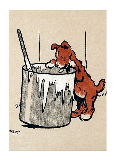 Puppies and Paint Are a Bad Combination I think this red puppy is headed for a surprise if he pursues his investigation of that bucket of fence paint. I hope it's whitewash getting if off will be a lot easier than paint.  From {The Red Puppy Book} 1910.  Cecil Aldin (1870-1935) was a prolific English artist and illustrator. While living in London, he became friends with the Beggarstaff Brothers (William Nicholson and James Pryde), with John Hassall, Phil May and Dudley Hardy, and their influence on his work was great. Aldin, however, developed his own style and was particularly skillful at conveying the humor, love and antics of the dogs and other animal friends. He did a great deal of advertising work, including posters, for such companies as Bovril, Coleman and Cadbury's. Royal Doulton, the china manufacturer, produced about sixty items with Aldin's art between 1910 and 1939. The obituary in {The London Times} asserted that there never yet has been a painter of dogs fit to hold a candle to him.  Cecil Aldin has always been a favorite of ours here at Green Tiger Press, and we have laughed at his wonderful illustrations and reproduced many of them over the years.  These prints are made at our location in Seattle, WA. They have a thick, white backing board and are sealed in clear bags. Each is suitable for framing at 11 inches x 14 inches or can be used as is for wall display. Our goal is to bring back to life these wonderful illustrations from old-fashioned, children's books and from early advertising art.