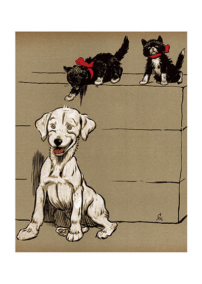 A Surprise for the Puppy! This white puppy is in for a surprise from those adventurous kittens.  From {The Merry Puppy Book} 1913.  Cecil Aldin (1870-1935) was a prolific English artist and illustrator. While living in London, he became friends with the Beggarstaff Brothers (William Nicholson and James Pryde), with John Hassall, Phil May and Dudley Hardy, and their influence on his work was great. Aldin, however, developed his own style and was particularly skillful at conveying the humor, love and antics of the dogs and other animal friends. He did a great deal of advertising work, including posters, for such companies as Bovril, Coleman and Cadbury's. Royal Doulton, the china manufacturer, produced about sixty items with Aldin's art between 1910 and 1939. The obituary in {The London Times} asserted that there never yet has been a painter of dogs fit to hold a candle to him.  Cecil Aldin has always been a favorite of ours here at Green Tiger Press, and we have laughed at his wonderful illustrations and reproduced many of them over the years.  These prints are made at our location in Seattle, WA. They have a thick, white backing board and are sealed in clear bags. Each is suitable for framing at 11 inches x 14 inches or can be used as is for wall display. Our goal is to bring back to life these wonderful illustrations from old-fashioned, children's books and from early advertising art.