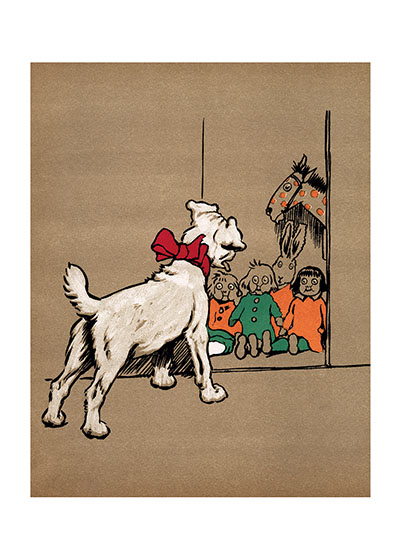 The Puppy Has Found the Toy Cupboard This white terrier may have a bow around his neck, but that is no guarantee that he will behave in a civilized manner to those toys he has discovered in the cupboard.  In fact, we know from the rest of the book he comes from that Pickles is very bad!  From {Pickles}, 1919  Cecil Aldin (1870-1935) was a prolific English artist and illustrator. While living in London, he became friends with the Beggarstaff Brothers (William Nicholson and James Pryde), with John Hassall, Phil May and Dudley Hardy, and their influence on his work was great. Aldin, however, developed his own style and was particularly skillful at conveying the humor, love and antics of the dogs and other animal friends. He did a great deal of advertising work, including posters, for such companies as Bovril, Coleman and Cadbury's. Royal Doulton, the china manufacturer, produced about sixty items with Aldin's art between 1910 and 1939. The obituary in {The London Times} asserted that there never yet has been a painter of dogs fit to hold a candle to him.  Cecil Aldin has always been a favorite of ours here at Green Tiger Press, and we have laughed at his wonderful illustrations and reproduced many of them over the years.  These prints are made at our location in Seattle, WA. They have a thick, white backing board and are sealed in clear bags. Each is suitable for framing at 11 inches x 14 inches or can be used as is for wall display. Our goal is to bring back to life these wonderful illustrations from old-fashioned, children's books and from early advertising art