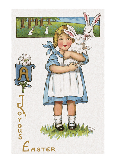 Girl Holding a Rabbit, with Easter Greetings The rabbit this little girl is holding has a friend in the background.  A charming vintage postcard image with Easter Greetings.  Our blank notecards are custom printed at our location in Seattle, WA. They come bagged with an envelope. We love illustration art from old children's books and early, printed ephemera. These cards reflect this interest in bringing delightful art back to life.