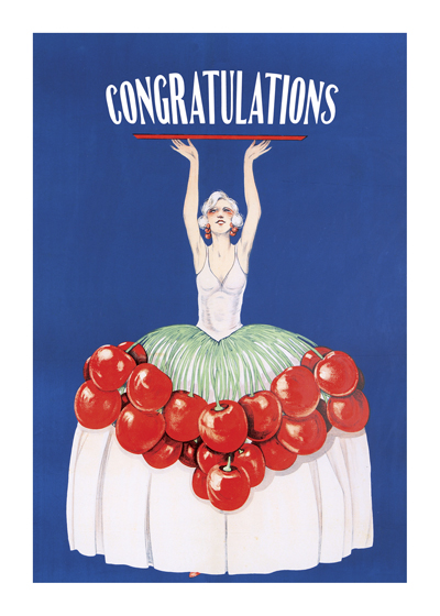 Cherries Jubilee  OUTSIDE GREETING: Congratulations   INSIDE GREETING: Best Wishes on your special day.  This festive image comes to us from a vintage liqueur advertisement.  Our greeting cards are custom printed at our location in Seattle, WA. They come bagged with an envelope. We love illustration art from old children's books and early, printed ephemera. These cards reflect this interest in bringing delightful art back to life.