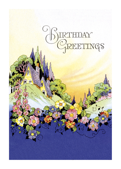 Vintage Birthday Greetings  OUTSIDE GREETING: Birthday Greeting  BLANK INSIDE  This tasteful birthday card is a reproduction of a mid-20th century item from our collection.