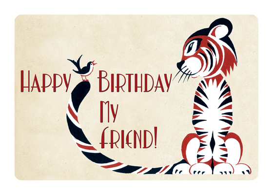 Tiger With Bird Friend  OUTSIDE GREETING: Happy Birthday my friend. INSIDE GREETING: Thanks for always being there.  This sweet image of unlikely companions makes a perfect birthday card from one friend to another.  Our greeting cards are custom printed at our location in Seattle, WA. They come bagged with an envelope. We love illustration art from old children's books and early, printed ephemera. These cards reflect this interest in bringing delightful art back to life.