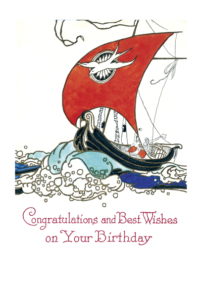 Sailing Ship   OUTSIDE GREETING: Congratulations and best wishes on your birthday. This beautiful boat graces a mid-century birthday card from our treasure trove.