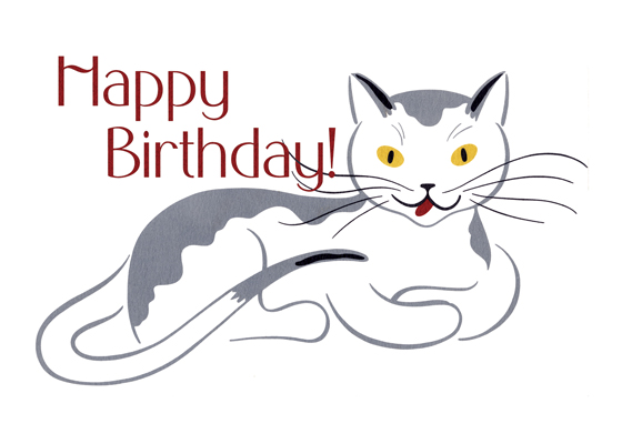Smiling Cat With Golden Eyes   OUTSIDE GREETING: Happy Birthday. This lovely cat gives us a typically feline serene smile in this birthday card for a cat lover.