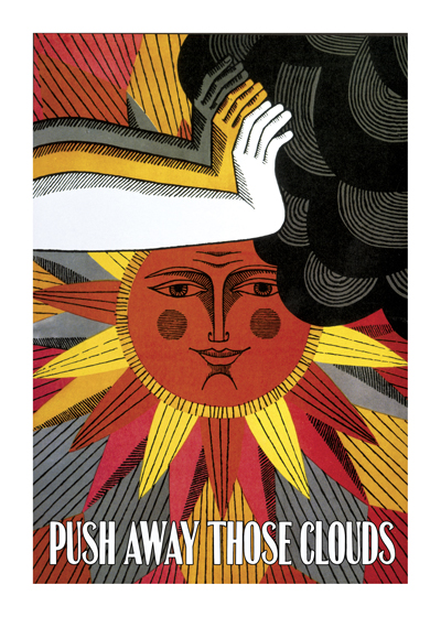 Here Comes The Sun  INSIDE GREETING: Here comes the sun.    BLANK INSIDE  This sunny poster image will bring cheer to anyone who might need it.  Our greeting cards are custom printed at our location in Seattle, WA. They come bagged with an envelope. We love illustration art from old children's books and early, printed ephemera. These cards reflect this interest in bringing delightful art back to life.