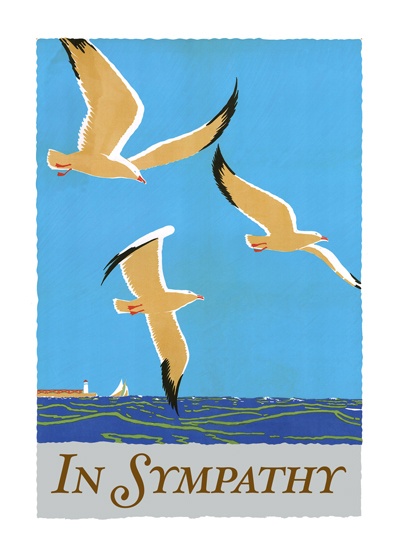 In Sympathy - Soaring Birds  OUTSIDE GREETING: In Sympathy  INSIDE GREETING: My caring thoughts are with you.  These birds in flight, from a vintage travel poster, convey an appropriately tranquil mood.  Our greeting cards are custom printed at our location in Seattle, WA. They come bagged with an envelope. We love illustration art from old children's books and early, printed ephemera. These cards reflect this interest in bringing delightful art back to life.