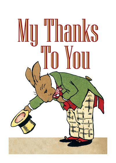 My Thanks To You - Bowing Bunny OUTSIDE GREETING: My thanks to you. Say thank with this dapper rabbit, from British illustrator Angusine Macgregor.