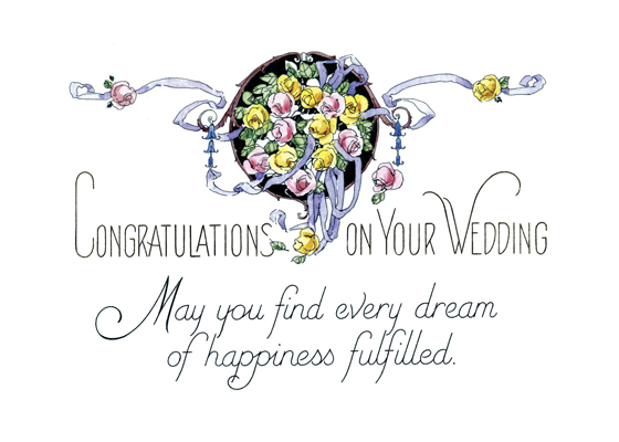 Dream of Happiness  IOUTSIDE GREETING: Congratulations on your wedding. May you find every dream of happiness fulfilled.  BLANKINSIDE  This tasteful wedding card is a reproduction of a mid-20th century item from our collection.  Our greeting cards are custom printed at our location in Seattle, WA. They come bagged with an envelope. We love illustration art from old children's books and early, printed ephemera. These cards reflect this interest in bringing delightful art back to life.