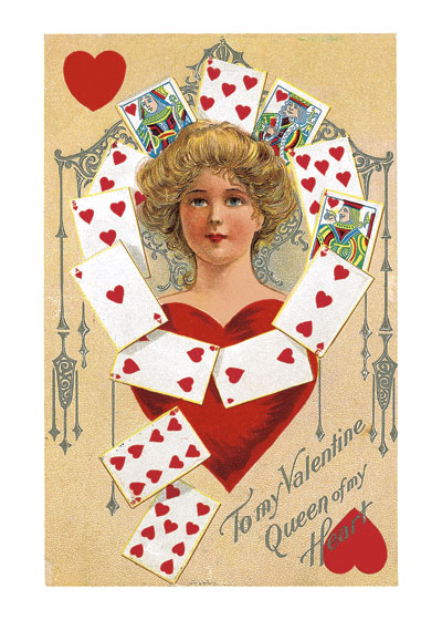 Queen of Hearts Valentine's Day reached its height of popularity during the romantic Victorian age. This Victorian postcard image of a Queen of Hearts, imagined as a lovely women surrounded by hearts from a deck of cards and framed by a fancy grillwork splendidly conveys the idea of a woman as a queen of one's heart.  Blank inside.  Our blank notecards are custom printed at our location in Seattle, WA. They come bagged with an envelope. We love illustration art from old children's books and early, printed ephemera. These cards reflect this interest in bringing delightful art back to life.