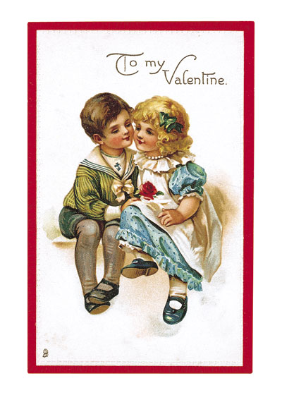 Little Boy and Girl with a Rose Valentine's Day reached its height of popularity during the romantic Victorian age. A sweet image of a little boy presenting a rose to a little girl.  Blank inside.  Our blank notecards are custom printed at our location in Seattle, WA. They come bagged with an envelope. We love illustration art from old children's books and early, printed ephemera. These cards reflect this interest in bringing delightful art back to life.