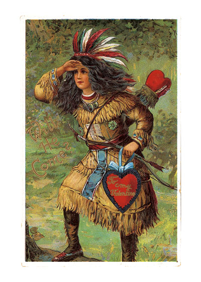 A Valentine Lady in Native American Costume Valentine's Day reached its height of popularity during the romantic Victorian age.   Why this lady is dressed up in Native American garb is unclear. Or maybe the Victorian idea (this image is from a Victorian postcard) was that Valentine's Day had penetrated to Native American culture.  The Victorians did love to dress up in exotic costumes, so maybe that was part of the idea behind this image.  Blank inside.  Our blank notecards are custom printed at our location in Seattle, WA. They come bagged with an envelope. We love illustration art from old children's books and early, printed ephemera. These cards reflect this interest in bringing delightful art back to life.