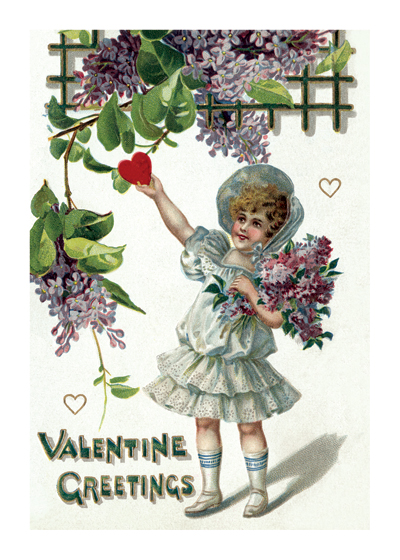 Girl Picking a Heart from a Lilac Bush | Victorian Valentine's Day Greeting Cards Valentine's Day reached its height of popularity during the romantic Victorian age. Why this little girl in her antique bonnet and dress is picking a heart off of a lilac bush is not clear, but vintage postcards, from which this image comes, are often charmingly irrational.