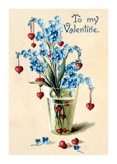 Vase of Hearts and For-get-me-nots Valentine's Day reached its height of popularity during the romantic Victorian age.   This charming vase of hearts hanging from forget-me-nots combines the message of love and being remembered for an audience that was very conscious of the language of flowers.  Blank inside.  Our blank notecards are custom printed at our location in Seattle, WA. They come bagged with an envelope. We love illustration art from old children's books and early, printed ephemera. These cards reflect this interest in bringing delightful art back to life.