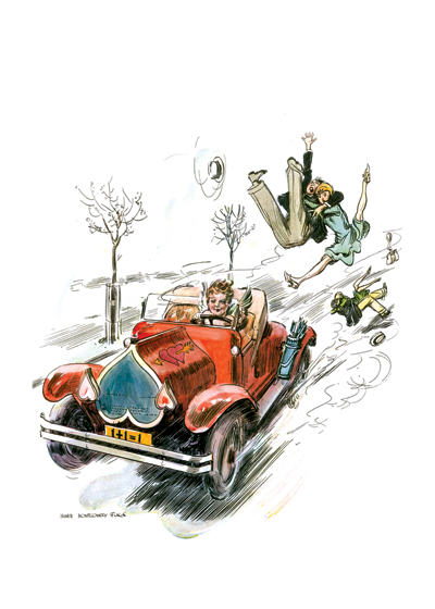 Cupid, the Hit and Run Driver | Magazine Art Valentine's Day Greeting Cards This amusing idea of the havoc caused by Cupid is by the famous illustrator, James Montgomery Flagg.  Was made for a magazine cover in the 1920s.