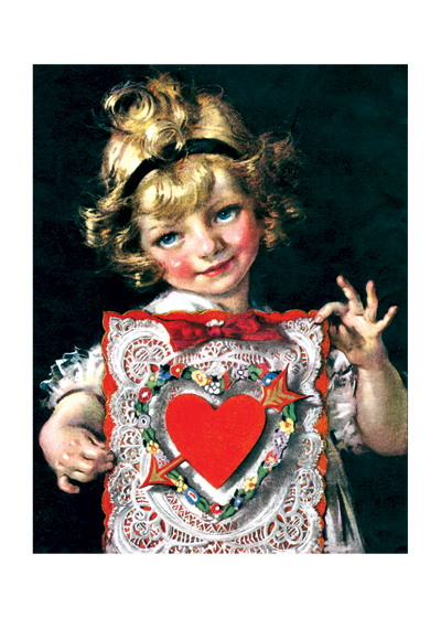 Little Girl Showing Her Fancy Valentine This little girl is obviously very proud of her valentine.  It is certainly fancy enough to be a treasured item.  Blank inside.  Our greeting cards are custom printed at our location in Seattle, WA. They come bagged with an envelope. We love illustration art from old children's books and early, printed ephemera. These cards reflect this interest in bringing delightful art back to life.