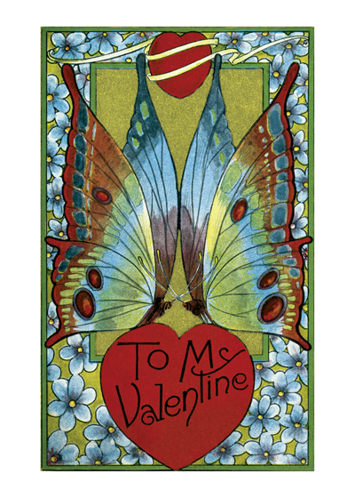 Valentine Heart with Butterfly Wings | Victorian Valentine's Day Greeting Cards Valentine's Day reached its height of popularity during the romantic Victorian age.