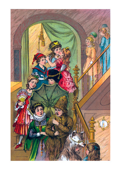 At the Costume Ball:  On the Staircase  BLANK INSIDE  Our blank notecards are custom printed at our location in Seattle, WA. They come bagged with an envelope. We love illustration art from old children's books and early, printed ephemera. These cards reflect this interest in bringing delightful art back to life.