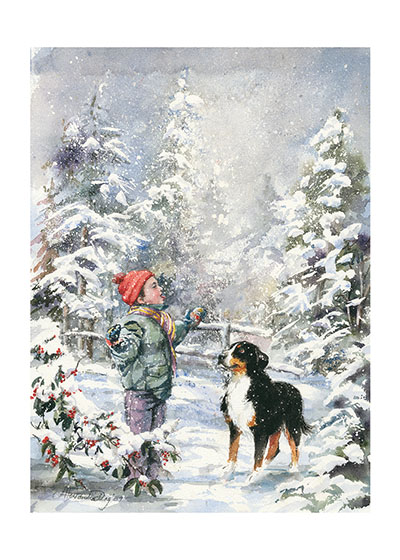 The Taste of Snow How many children have stuck out their tongues to catch the snow?  Must be billions!  This boy and his Bernese Mountain Dog are taking full advantage of the pleasures of a good snowfall.  Our greeting cards are custom printed at our location in Seattle, WA. They come bagged with an envelope. We love illustration art from old children's books and early, printed ephemera. These cards reflect this interest in bringing delightful art back to life.INSIDE GREETING: Have a birthday full of fun and friends.
