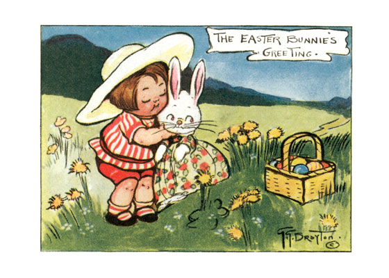 Girl and Lady Rabbit in a Field | Easter Greeting Cards Grace Wiederseim Drayton (1877-1936) grew famous with her drawings of chubby children which we still call the Campbell Soup Kids and which she called the Roly Polys.  Drayton, who was born in Philadelphia, though she lived and worked most of her life in New York, was chosen in 1904 by Campbell Soup to advertise their many canned soups.  Her lovable children proved extremely popular and lasted for decades, though growing progressively less roly poly.