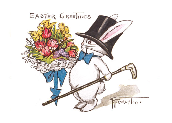 Rabbit in a Top Hat, with a Big Bouquet | Easter Greeting Cards Grace Wiederseim Drayton (1877-1936) grew famous with her drawings of chubby children which we still call the Campbell Soup Kids and which she called the Roly Polys.  Drayton, who was born in Philadelphia, though she lived and worked most of her life in New York, was chosen in 1904 by Campbell Soup to advertise their many canned soups.  Her lovable children proved extremely popular and lasted for decades, though growing progressively less roly poly.