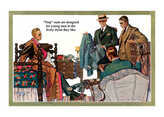 A Fashion Discussion in the Dorm These young men are taking their choice of clothes seriously.  One fellow seems to have wisdom to convey to his fellow dorm members.  The illustrations in this series, made by Herbert Paus for the Hart Schaffner & Marx clothing company, demonstrate his bold and graphic style. They also convey a feeling for the mood and ambitions of the well-dressed man in the early 1920s.  Herbert Andrew Paus (1880-1946) was a noted American illustrator working in the first decades of the 20th century.  He both created posters himself and supervised other artists to help the war effort during World War I. He also illustrated books and painted cover art for magazines such as {Colliers}, {Ladies' Home Journal} and {Pictorial Review}.  These prints are made at our location in Seattle, WA. They have a thick, white backing board and are sealed in clear bags. Each is suitable for framing at 11 inches x 14 inches or can be used as is for wall display. Our goal is to bring back to life these wonderful illustrations from old-fashioned, children's books and from early advertising art.