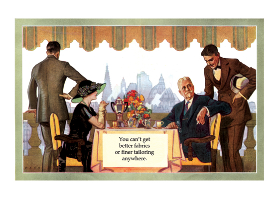 Fashion to Impress the Lady at Dinner | 1920s H.Paus Fashion Fashion Greeting Cards An elegant dinner with a lady in a restaurant high over New York demands the right clothes.