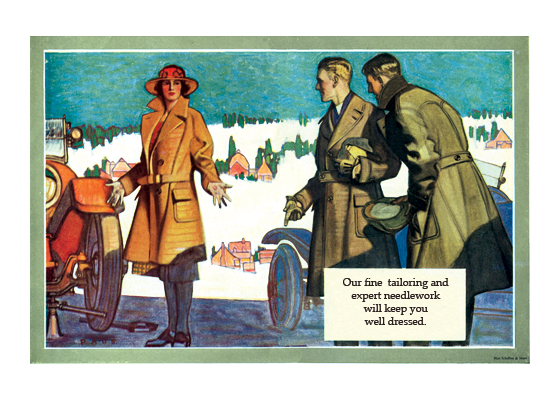 Stylish Help for a Lady in Need The situation of a lady with car trouble provides the clothing manufacturer an opportunity to show off heavy coats made with style.  The illustrations in this series, made by Herbert Paus for the Hart Schaffner & Marx clothing company, demonstrate his bold and graphic style. They also convey a feeling for the mood and ambitions of the well-dressed man in the early 1920s.  Herbert Andrew Paus (1880-1946) was a noted American illustrator working in the first decades of the 20th century.  He both created posters himself and supervised other artists to help the war effort during World War I. He also illustrated books and painted cover art for magazines such as {Colliers}, {Ladies' Home Journal} and {Pictorial Review}.  These prints are made at our location in Seattle, WA. They have a thick, white backing board and are sealed in clear bags. Each is suitable for framing at 11 inches x 14 inches or can be used as is for wall display. Our goal is to bring back to life these wonderful illustrations from old-fashioned, children's books and from early advertising art.