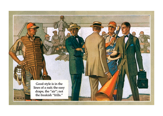 1920s Baseball Players and Fans One of the charms of this fine advertising painting is the man in 1920s baseball catcher's garb. The stylish fans in their staw boaters are also very much of the period.  The illustrations in this series, made by Herbert Paus for the Hart Schaffner & Marx clothing company, demonstrate his bold and graphic style. They also convey a feeling for the mood and ambitions of the well-dressed man in the early 1920s.  Herbert Andrew Paus (1880-1946) was a noted American illustrator working in the first decades of the 20th century.  He both created posters himself and supervised other artists to help the war effort during World War I. He also illustrated books and painted cover art for magazines such as {Colliers}, {Ladies' Home Journal} and {Pictorial Review}.  These prints are made at our location in Seattle, WA. They have a thick, white backing board and are sealed in clear bags. Each is suitable for framing at 11 inches x 14 inches or can be used as is for wall display. Our goal is to bring back to life these wonderful illustrations from old-fashioned, children's books and from early advertising art.
