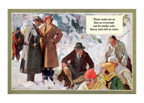 Winter Sports in Stylish Garb This painting shows a range of ages and both sexes in the company's coats. This was a good way to make the would-be buyer feel that his or her social success would be enhanced by a Hart Schaffner & Marx coat.  The illustrations in this series, made by Herbert Paus for the Hart Schaffner & Marx clothing company, demonstrate his bold and graphic style. They also convey a feeling for the mood and ambitions of the well-dressed man in the early 1920s.  Herbert Andrew Paus (1880-1946) was a noted American illustrator working in the first decades of the 20th century.  He both created posters himself and supervised other artists to help the war effort during World War I. He also illustrated books and painted cover art for magazines such as {Colliers}, {Ladies' Home Journal} and {Pictorial Review}.  These prints are made at our location in Seattle, WA. They have a thick, white backing board and are sealed in clear bags. Each is suitable for framing at 11 inches x 14 inches or can be used as is for wall display. Our goal is to bring back to life these wonderful illustrations from old-fashioned, children's books and from early advertising art.