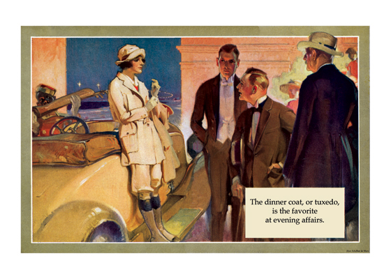 "Evening Clothes and a Girl Motorist | 1920s H.Paus Fashion Fashion Art Prints ""This rather puzzling picture of a girl motorist apparently about to depart for car trip, even though it is night, is mostly an excuse to show the men in their elegant evening attire, which is, after all, the purpose of the advertising pamphlet for which it was made."