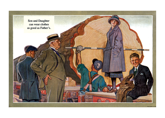 Measuring the Giant Tree in Style The modern viewer winces at the sight of the giant tree felled. But this advertisement was made in the 1920s and the family uses it as a background to show off their clothes that the advertisement assures us are 'as good as Father's.'  The illustrations in this series, made by Herbert Paus for the Hart Schaffner & Marx clothing company, demonstrate his bold and graphic style. They also convey a feeling for the mood and ambitions of the well-dressed man in the early 1920s.  Herbert Andrew Paus (1880-1946) was a noted American illustrator working in the first decades of the 20th century.  He both created posters himself and supervised other artists to help the war effort during World War I. He also illustrated books and painted cover art for magazines such as {Colliers}, {Ladies' Home Journal} and {Pictorial Review}.  These prints are made at our location in Seattle, WA. They have a thick, white backing board and are sealed in clear bags. Each is suitable for framing at 11 inches x 14 inches or can be used as is for wall display. Our goal is to bring back to life these wonderful illustrations from old-fashioned, children's books and from early advertising art.