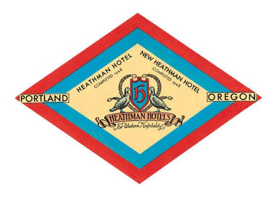 Heathman Hotel Luggage Label | Americana Travel Art Prints The Heathman Hotel, in Portland, Oregon, United States, was originally built as the New Heathman Hotel and opened in 1927. It is among the last remaining historical Portland hotels.