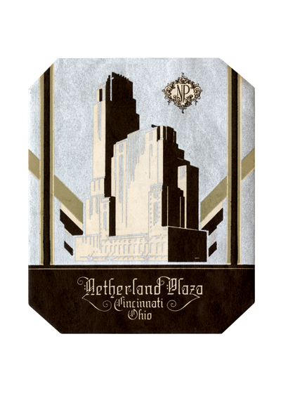 Netherland Plaza Luggage Label | Americana Travel Greeting Cards The Hilton Cincinnati Netherland Plaza is a true French Art Deco hotel masterpiece. Opened in 1931, the landmark hotel in Cincinnati was an integral part of the first multi-use complex in the United States. Described as a city within a city, the complex featured an office tower, hotel, fully automated garage, shopping complex, and restaurants. Today, the hotel is the city's crown jewel.