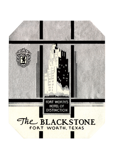 The Blackstone Hotel Luggage Label The Blackstone Hotel is the tallest hotel in downtown Fort Worth, Texas, at 268'ft (82'm) tall. Located on the corner of Fifth and Main Streets, it is noted for its art deco with terra cotta ornamentation with setbacks on the top floors. The hotel was constructed in 1929, and sat vacant for nearly 20 years. The Blackstone Hotel guest list is full of notable people including Presidents of the United States ranging from President Harry Truman to President Richard Nixon. The hotel was also host for a few movie stars. The building was restored in the late 1990s and is still in use today.  These prints are made at our location in Seattle, WA. They have a thick, white backing board and are sealed in clear bags. Each is suitable for framing at 11 inches x 14 inches or can be used as is for wall display. Our goal is to bring back to life these wonderful illustrations from old-fashioned, children's books and from early advertising art.