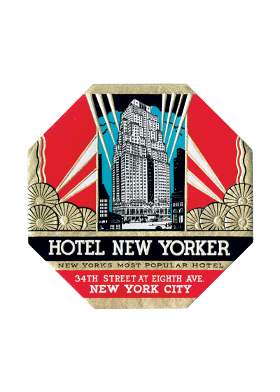 Hotel New Yorker Luggage Label The New Yorker Hotel was built by Garment Center developer Mack Kanner. When the project was announced in 1928, the Sugarman and Berger designed building was planned to be 38 stories, at an estimated cost of $8 million. However, when it was completed in 1929, the building had grown to 43 stories, at a final cost of $22.5 million and contained 2,500 rooms, making it the city's largest for many years. Hotel management pioneer, Ralph Hitz, was selected as its first manager, eventually becoming president of the National Hotel Management Company. An early ad for the building boasted that the hotel's bell boys were 'as snappy-looking as West Pointers' and that it had a radio in every room with a choice of four stations.  These prints are made at our location in Seattle, WA. They have a thick, white backing board and are sealed in clear bags. Each is suitable for framing at 11 inches x 14 inches or can be used as is for wall display. Our goal is to bring back to life these wonderful illustrations from old-fashioned, children's books and from early advertising art.