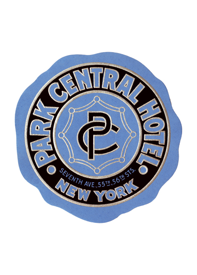 Park Central Hotel Luggage Label | Americana Travel Art Prints Named Park Central because of its close proximity to, but no actual views of, Central Park, it is a historic building with an extensive history. It has housed such iconic figures as Jackie Gleason, Mae West, and Eleanor Roosevelt, who kept a suite there. Built in the pre-Depression late-twenties, its grand opening took place on June 12, 1927.