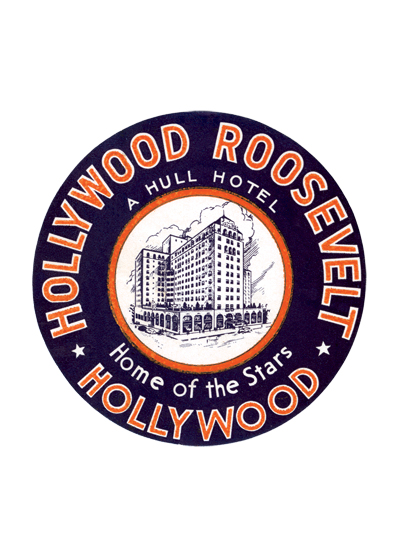 Hollywood Roosevelt Hotel Luggage Label The Hollywood Roosevelt Hotel is a historic hotel designed in the Spanish Colonial Revival style, located at 7000 Hollywood Boulevard. Named after United States president Theodore Roosevelt and financed by a group including Douglas Fairbanks, Mary Pickford and Louis B. Mayer, it first opened its doors on May 15, 1927. It cost $2.5 million ($33.9'million in today's money or dollars) to complete this twelve-story building, which holds 300 rooms and suites. Following a major renovation in 2005, The Hollywood Roosevelt has been more prominently featured in films and in Hollywood nightlife. There has been a recent surge in popularity with young Hollywood in the last few years, thanks to trendy nightclub Teddy's, which is located in the main lobby of the hotel.  These prints are made at our location in Seattle, WA. They have a thick, white backing board and are sealed in clear bags. Each is suitable for framing at 11 inches x 14 inches or can be used as is for wall display. Our goal is to bring back to life these wonderful illustrations from old-fashioned, children's books and from early advertising art.