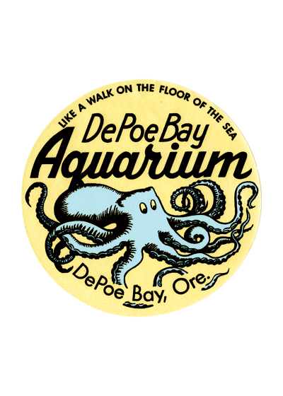 Depot Bay Aquarium Travel Label Depoe Bay is one of the coast's youngest towns, having only gotten started in 1927 when the highway and bridge were built and lacking a post office until 1928. Yet until 1998 it was home to the oldest privately owned aquarium in the U.S. This aquarium was opened the same year as the highway   and, in more ways than one, it was inspired by the road. Generally, it was inspired by the tourists the road was starting to bring to the formerly isolated hamlet, and specifically, it was inspired by a group of tourists who had stopped their cars and gathered around a dead octopus by the roadside.  These prints are made at our location in Seattle, WA. They have a thick, white backing board and are sealed in clear bags. Each is suitable for framing at 11 inches x 14 inches or can be used as is for wall display. Our goal is to bring back to life these wonderful illustrations from old-fashioned, children's books and from early advertising art.